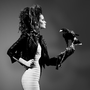 Fashion model with hawk