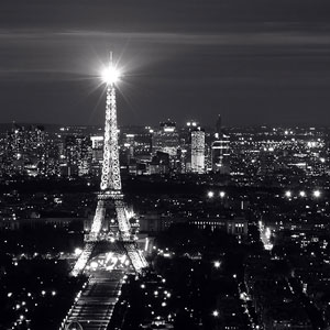 The Eiffel Tower in Paris night panorama